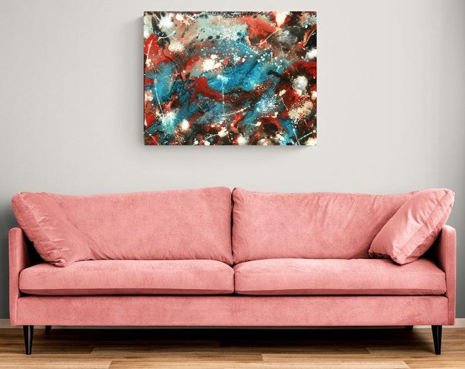 """16""""×20"""" Abstract fluid splatter mix art with texture"""