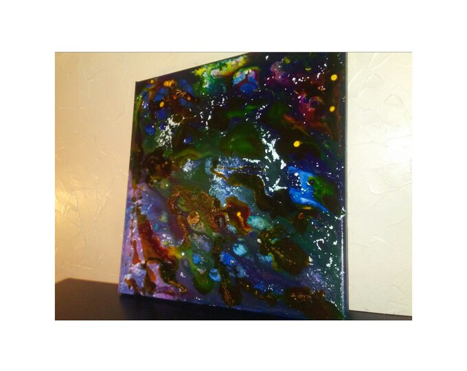 "Oil & Water- 14""×14"" abstract acrylic ink on canvas painting"