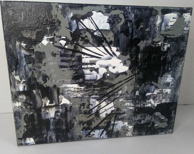 "8""×10""×1.5"" Original Abstract Art Abstract Painting Small Art Black & White Art Wall Art Decor Home Decor Abstract Artwork"