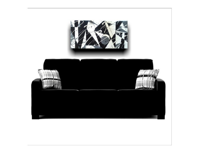 Black & White Geo-  Geometrical Abstract, Shapes, Splatter Paint, Black Painter, African American Art, Black Artist, Black Owned Shop