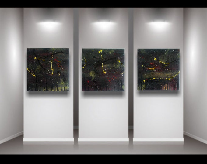 Triptych painting, original abstract painting, 3pc painting, splatter painting, 3pc canvas art, wall art, paintings, abstract paintings