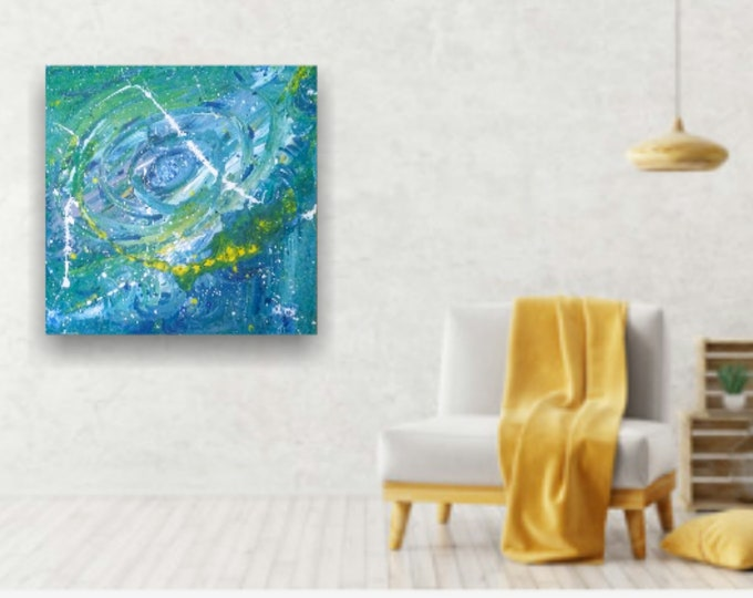 "24""×24"" Hurricane/Doppler Radar- Blue fluid splattered acrylic abstract art"