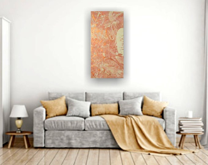 Metallic bronze painting, abstract paintings, wall art decor, art deco, abstract art decor, neutral color art, acrylics on canvas, original