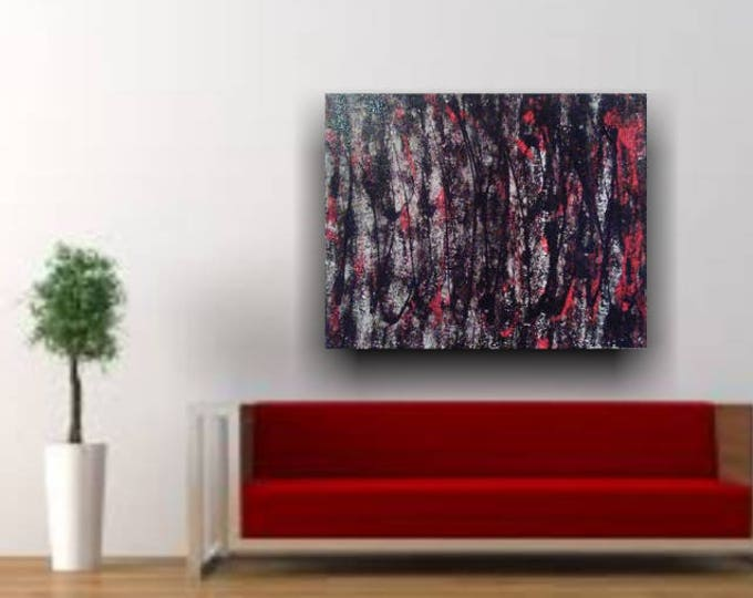 "16""×20"" Abstract painting, acrylic painting, wall decor, home decor, wall art, abstract art, black, red, canvas art, abstract painter"