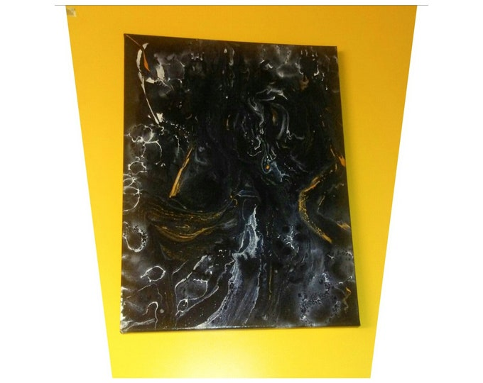 Black Abstraction, fluid paintings, abstract expressionism, abstract painting, original painting