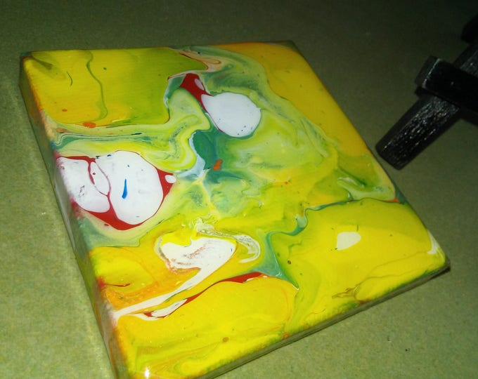 Mini Canvas abstraction w/easel, abstract painting, mini art, painting, resin, abstract canvas art, home art decor