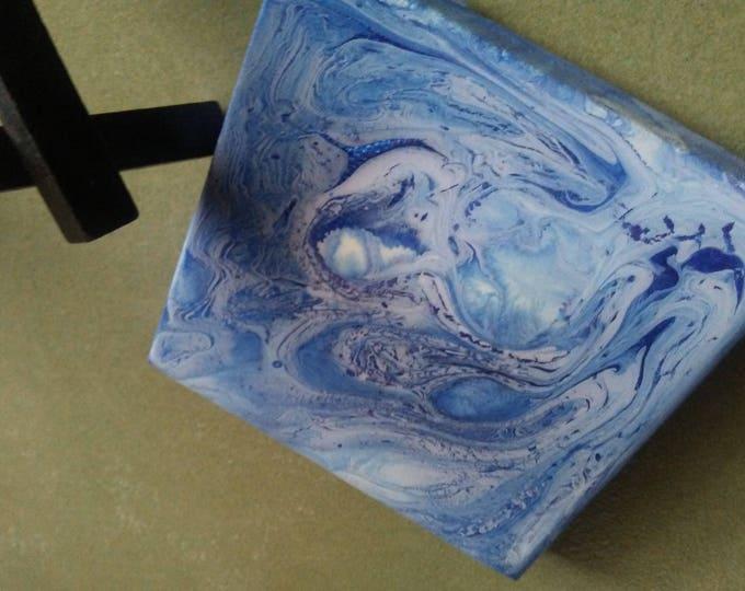 Mini Canvas Fluid Abstract art w/easel