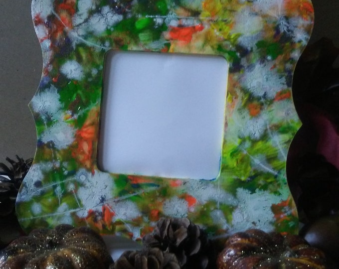 Small Handpainted Abstract Tabletop Picture Frame