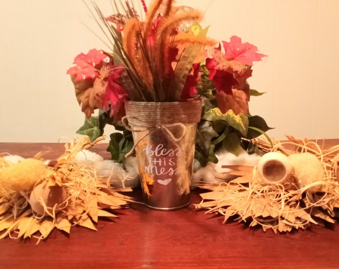 Decorative Metal Vase- Bless This Mess