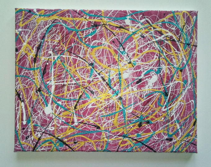 Colorful abstract painting, colorful art, pink abstract art, art, wall decor, abstract wall decor,