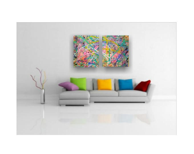 """Planet of the Colors- 32""""× 40"""" Diptych, Abstract Splatter on canvas, 2pc Bright Vivid Colorful Set"""
