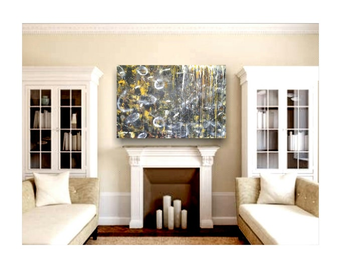 """24""""×36""""×1.5"""" Unconventional- abstract painting, large canvas art, textured painting, wall art decor, abstract art decor, art"""