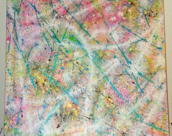 """16""""×20""""- Color Mist, abstract painting, colorful art, bright colors, splatter art, abstract art"""