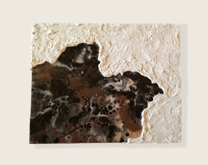 "Textured Abstract Resin artwork 16""×20"" Caulk Art Poured Acrylics Ready-to-hang Home Decor Artwork Abstract Art Original Canvas Art"
