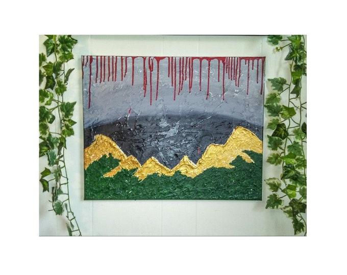 Afadjato- Mountain paintings, textured artwork, gallery canvas artwork, Ghana art, wall decor, home decor, art, art decor, original artwork