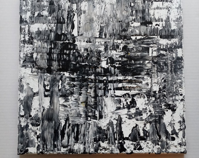 """Textured Original Abstract Painting 14""""×14"""" Palette Knife Painting Matte Acrylic Colors"""