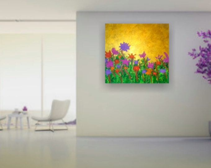 """24""""×24"""" Abstract painting, textured flowers, gold acrylic paint"""