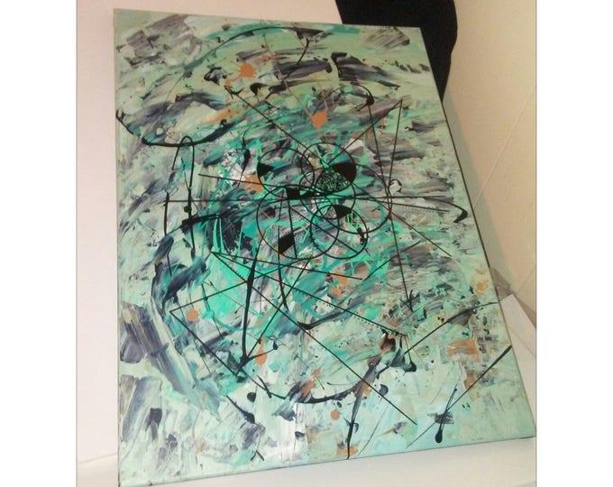 "18""×24"" Splash Metrics Abstract painting, acrylic painting, wall decor, home decor, wall art, abstract art, canvas art, abstract painter"