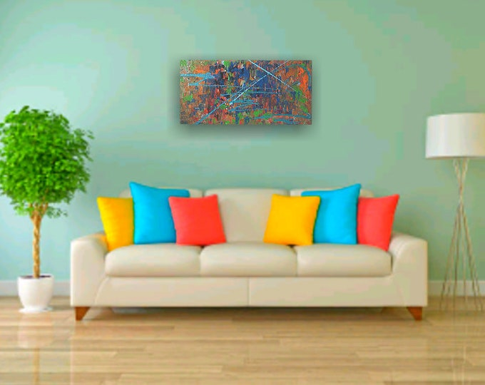Colorful abstract painting, pallette knife paintings, drip paintings, bright color canvas art, rainbow paintings, abstract art, wall decor