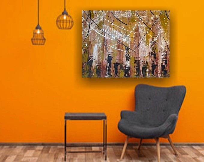 """Untitled-  Large Abstract Painting 30""""×40"""" on stretched canvas"""
