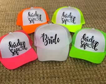 BRIDE SQUAD   bride tribe   bachelorette hats   bride hat   neon trucker  hats   Neon Hat   pool party   bachelorette squad   vegas miami 40eba3b9ff59