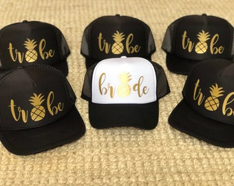 BRIDE TRIBE   PINEAPPLE   bachelorette party hats   black bachelorette hats    brides squad   Trucker cap   Neon Hat   pool party   miami bd0819b31980