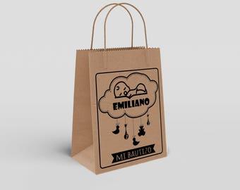 Bolsa Papel Kraft Premium Con Asa Personalizada Bautizo