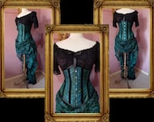 Peacock Corset Victorian Bustle Skirt Set