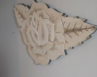 Tattoo Rose Wall Art - Reclaimed Wood