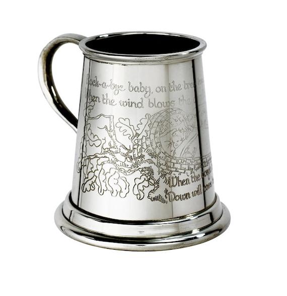 Personalised Engraved British Made Pewter Tankard Baby Christening Gift