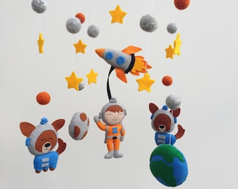 Baby Mobile Nursery Mobile Space Crib Mobile Boy Cot Mobile Felt Baby Mobile Planets, Galaxy Mobile Spaceship, Rocket Mobile