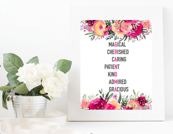 Grandma Acrostic Poem Pink Floral Etsy A grandmother is beautiful inside and out in the eyes of her grandchildren. grandma acrostic poem pink floral