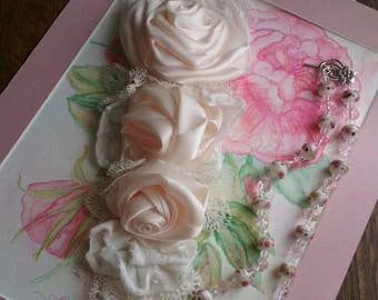 One of a kind blush roses and white lace corsage .I Made this the  Be pinned onto bridal gown ..was 60.00