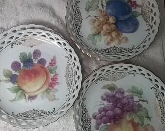 Winterling Bavaria Germany Laced Rim Fruit Plates