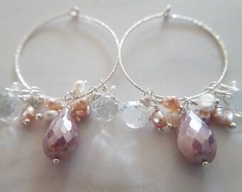 Moonstone And White Topaz Hoop Earrings, Lavender Moonstone, White Topaz, Gemstone Hoop Earrings, Sterling Silver Hoops, Pearl Hoop Earrings