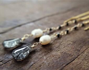 Black Diamond And Gold Threader Earrings, Black Diamonds, Rutilated Quartz, Pearl Earrings, Black Diamond Earrings, Gold Threader Earrings