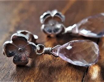 Ametrine Sterling Silver Earrings, Ametrine, Sterling Silver Flower Earrings, Ametrine Earrings, Ametrine Jewelry, Silver Gemstone Earrings