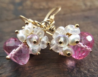 Pink Topaz And Pearl Cluster Earrings, Mystic Pink Topaz, Quartz Earrings, Pearl Cluster Earrings, Gold Filled Earrings, Topaz Jewelry