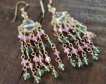 Morganite and Apatite Chandelier Earrings, Genuine Morganite, Green Apatite, Morganite Jewelry, Pink Amethyst Earrings, Chandelier Earrings