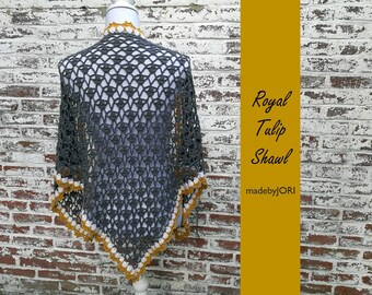 crochet pattern Royal Tulip Shawl