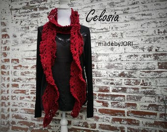 Celosia twisted lace ruffle scarf