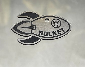 Rocket dog tag, space custom two sides tag, identity dog space, Dog Collar, Star Space theme, rocket pet id tag, laika, sputnik, pluton