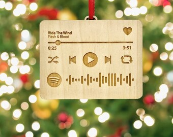 Personalized Spotify code ornament | Wood or Acrylic | Your favorite song or playlist | Christmas Tree Decoration - Music Bauble