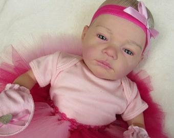 Reborn Baby Girl Doll , Open Awake Blue Eyes, PINK TUTU set #RebornBabyDollArtUK