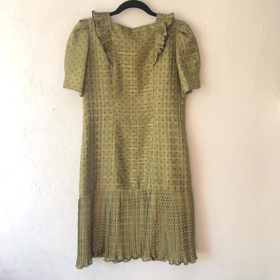 Army Dot Dress Dress Dress Polka Dress Babydoll Waist Green Pleated Dress Drop Ruffle Dress nqYFngdw