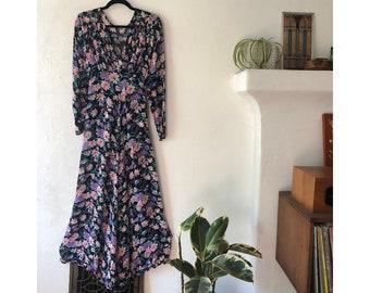 Floral Maxi Dress/ Semi Sheer Dress/ 90s Dress/ Floral Print Dress