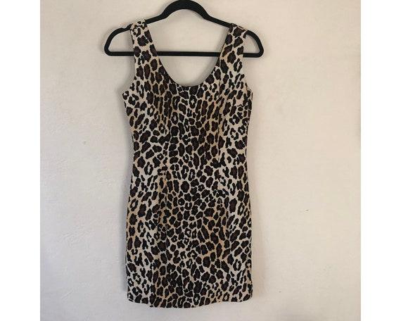 Leopard Print Dress/ 90s Dress/ Rayon Dress/ Leopa