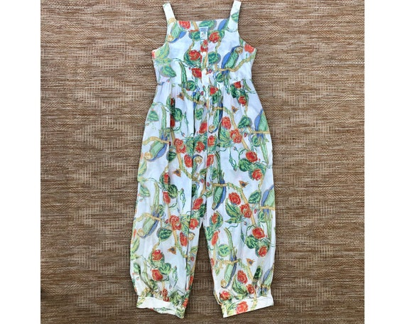 Vintage Laura Ashley Jumpsuit Rare Print Tropical