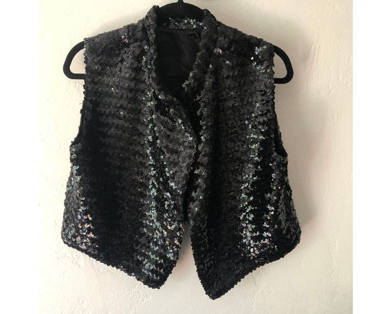 Black Sequin Vest/ Sequin Blouse/ Sequin Shirt/ Bl