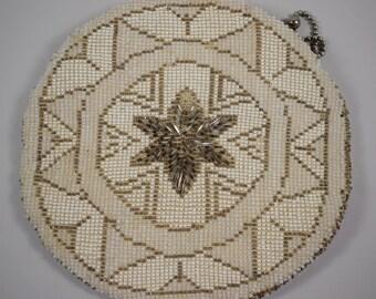 7d9cd8dab7 Czech Beaded Clutch, Beaded Evening Bag, 1930s Handbag, Seed Bead Wedding  Purse, White and Bronze Beaded Bag, Boho Wristlet, Bohemian Purse